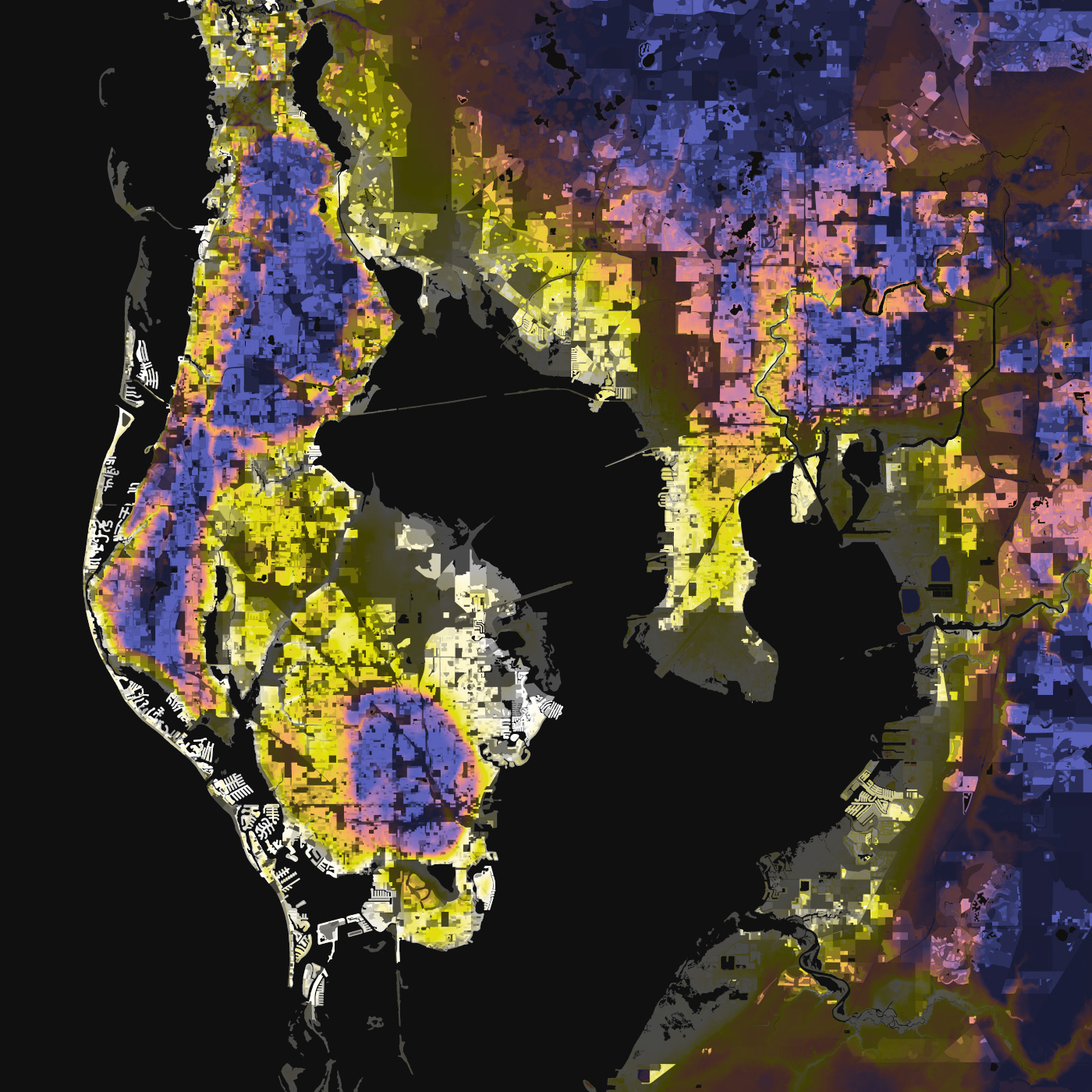 Tampa-St. Petersburg, Florida – Elevation And Population Density, 2010 - Florida Elevation Map Above Sea Level