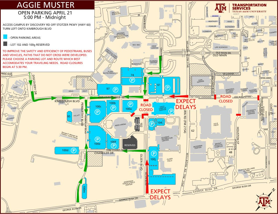 "Tamu Transport Svcs On Twitter: "".@tamu Muster Parking Will Be Open - Texas A&m Parking Lot Map"