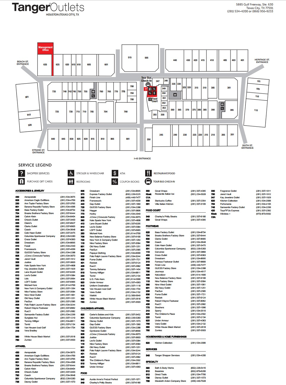 Tanger Outlet Houston (85 Stores) - Outlet Shopping In Texas City - Tanger Outlets Texas City Stores Map