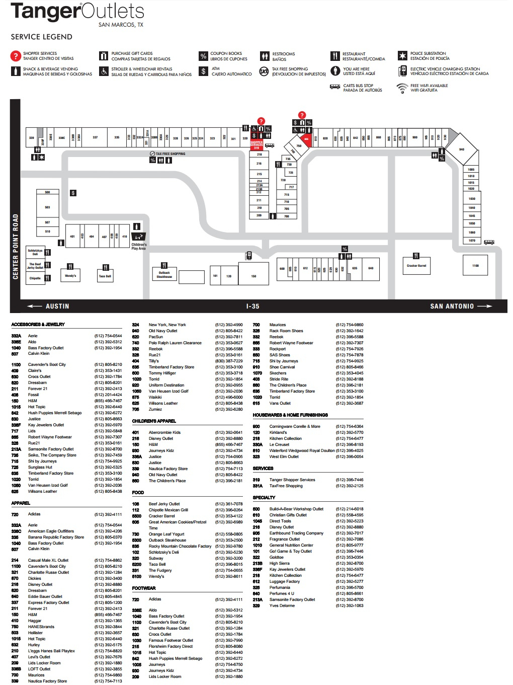 Tanger Outlets San Marcos (103 Stores) - Outlet Shopping In San - Tanger Outlets Texas City Stores Map
