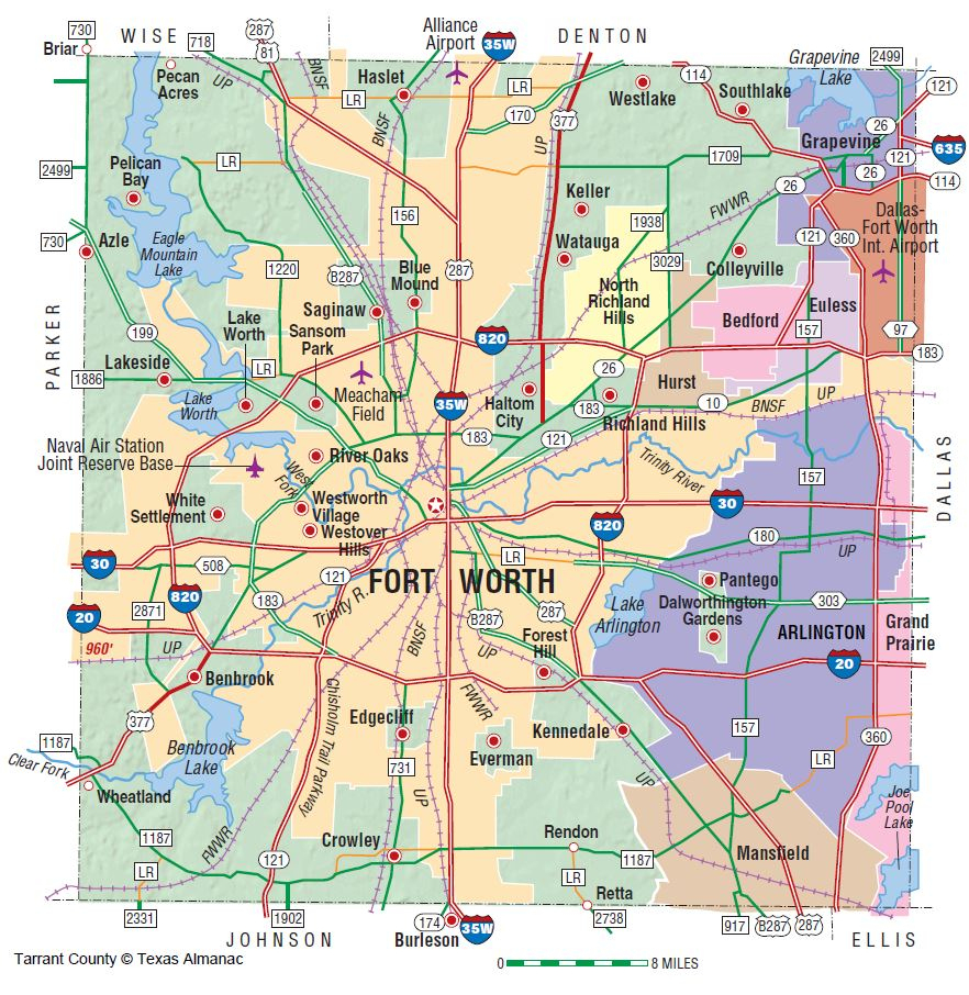 Tarrant County | The Handbook Of Texas Online| Texas State - Richland Hills Texas Map