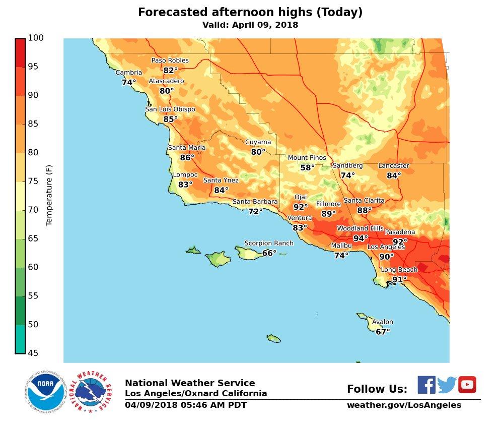 Temperature Map Southern California - Klipy - California Heat Zone Map
