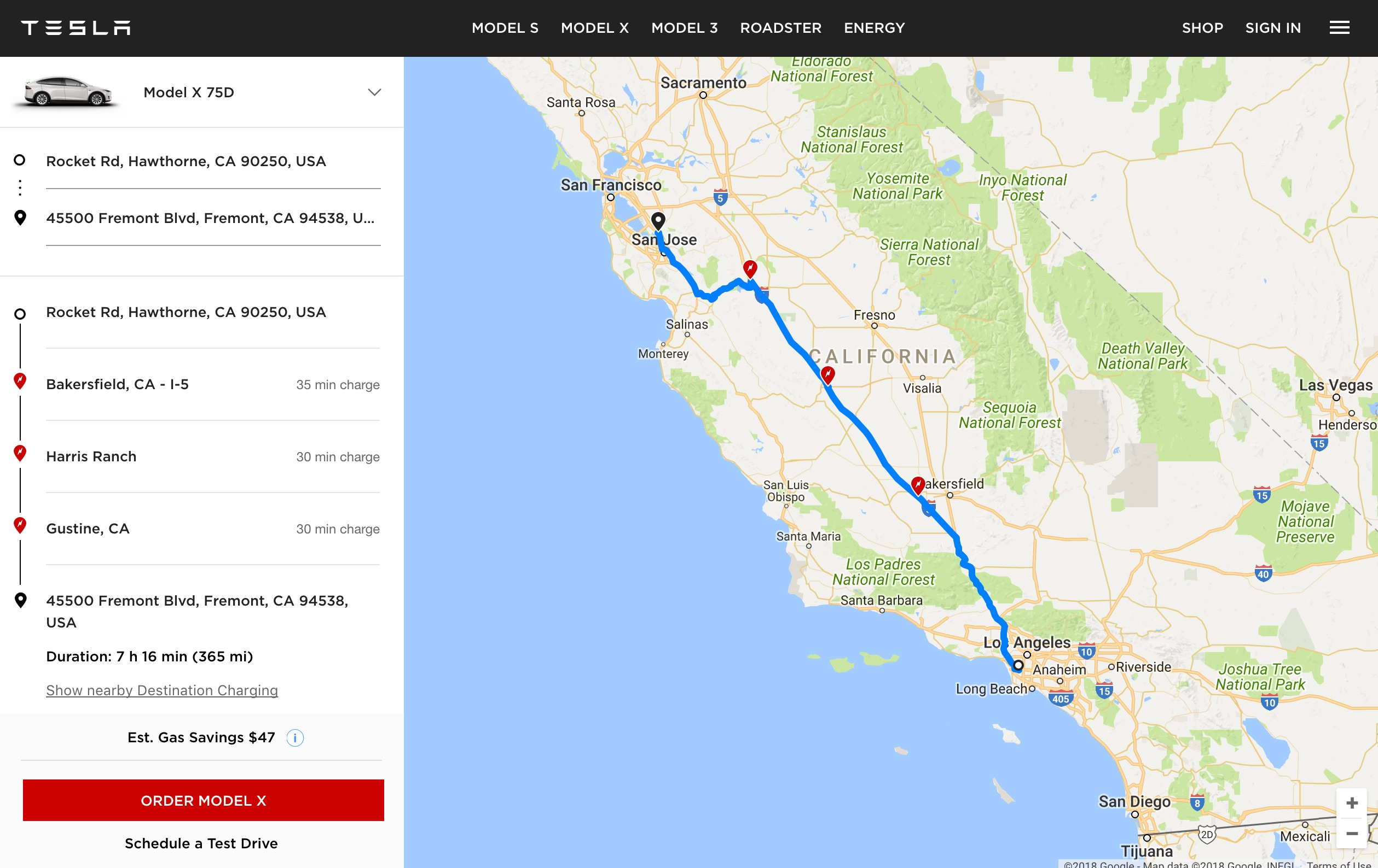 """Tesla Launches """"ev Trip Planner"""" Tool With Map Of Supercharger Locations - Tesla Charging Stations Map California"""