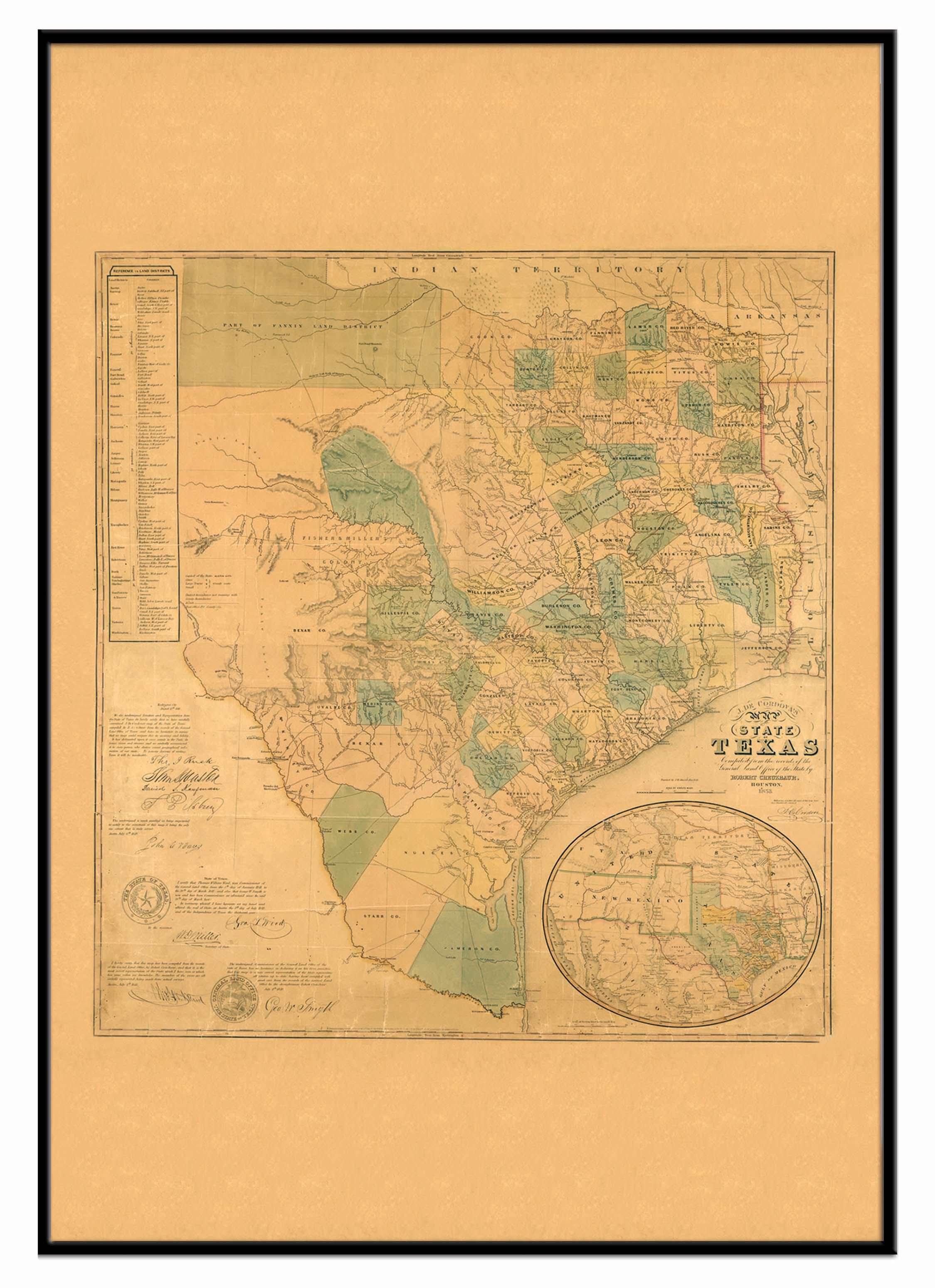 Texas 1853 Historical Print Framed Wall Map (Black) – Kappa Map Group - Framed Texas Map