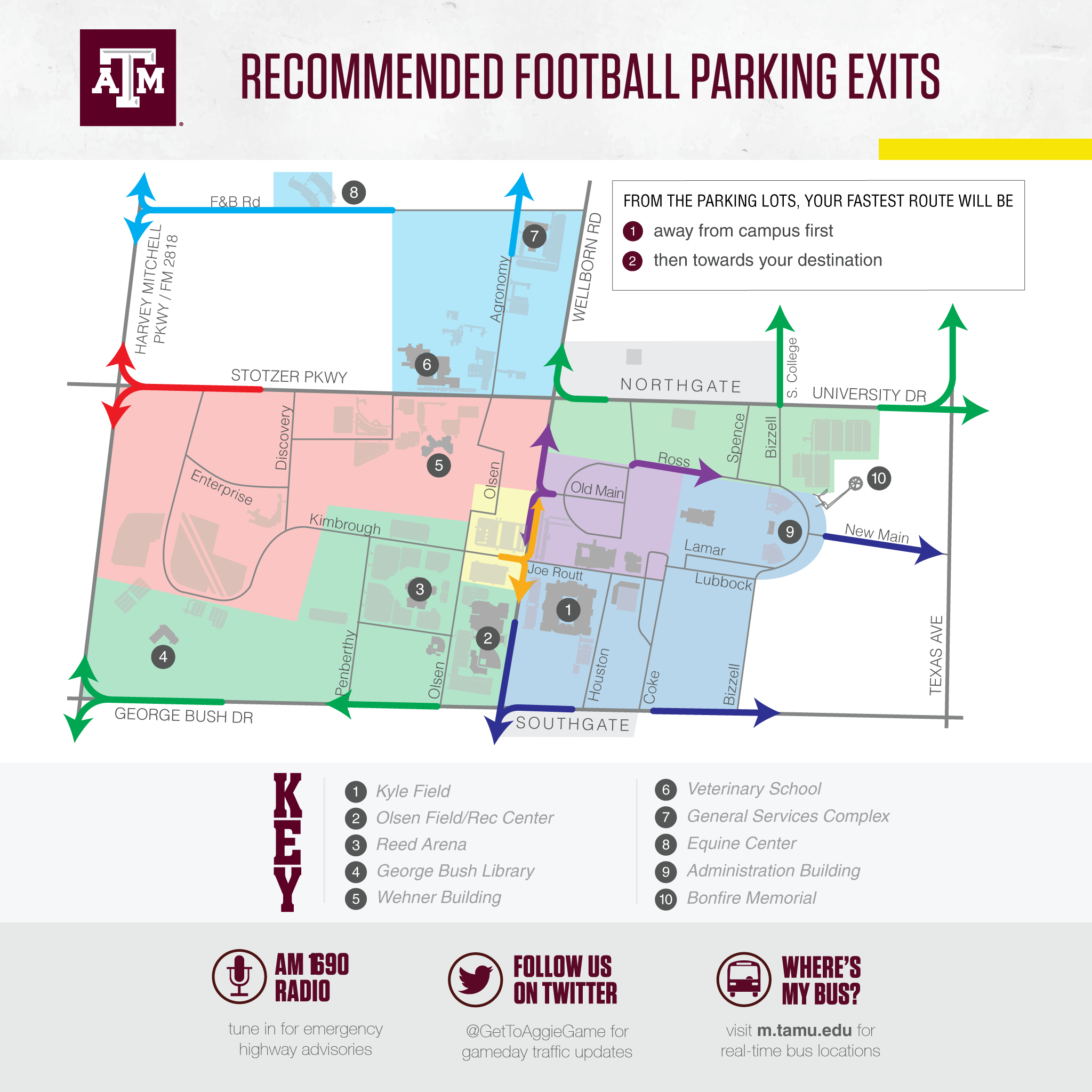 Texas A&m Football Game Day Guide 2017 - Texas A&m Football Parking Map