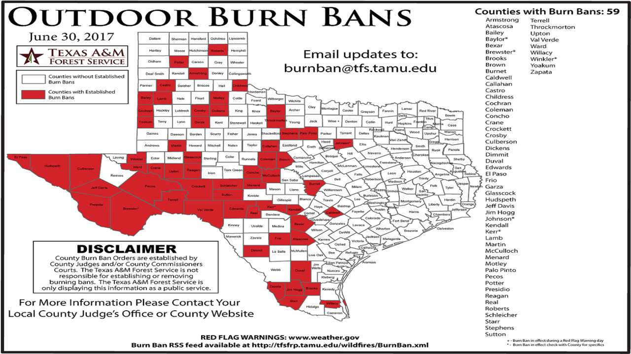 Texas A&m Forest Service Issues Map Of Burn Bans Across The State - Burn Ban Map Of Texas