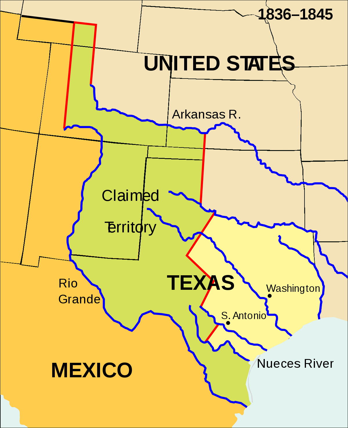 Texas Annexation - Wikipedia - Texas Independence Map