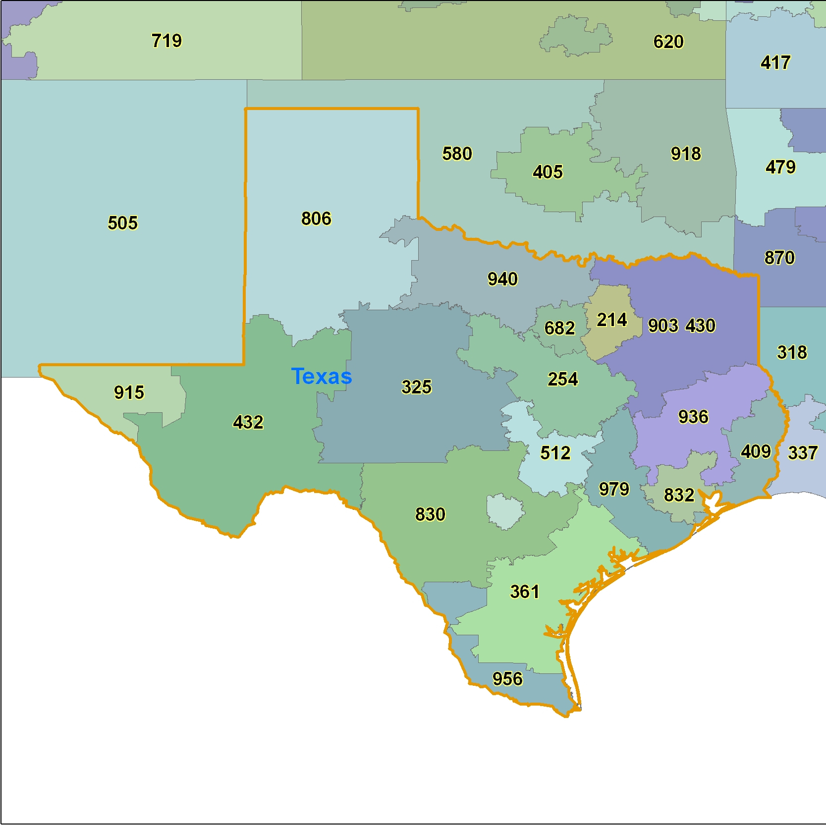 Texas Area Code Maps -Texas Telephone Area Code Maps- Free Texas - Full Map Of Texas