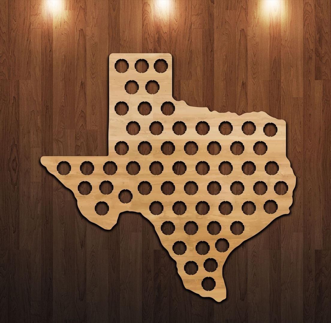 Texas Beer Cap Map - Craft Beer Bottle Cap Holder - Beer Cap - Texas Beer Cap Map