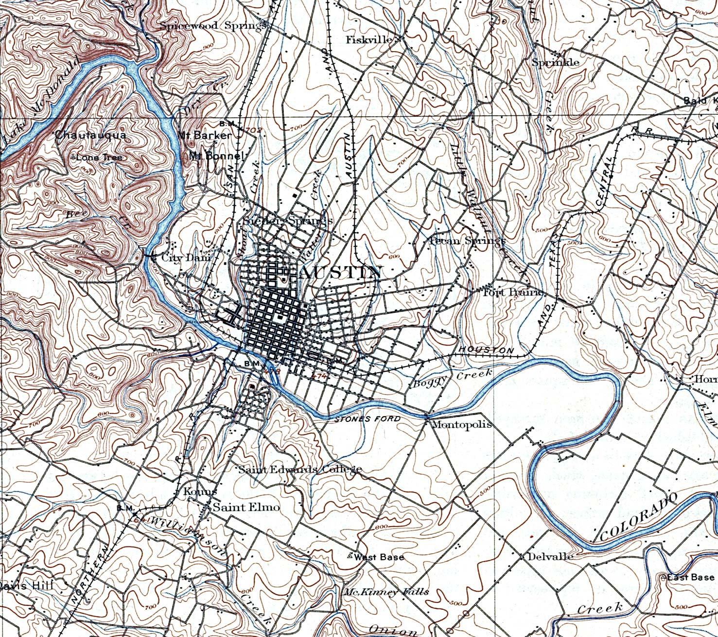 Texas Cities Historical Maps - Perry-Castañeda Map Collection - Ut - Street Map Of Austin Texas