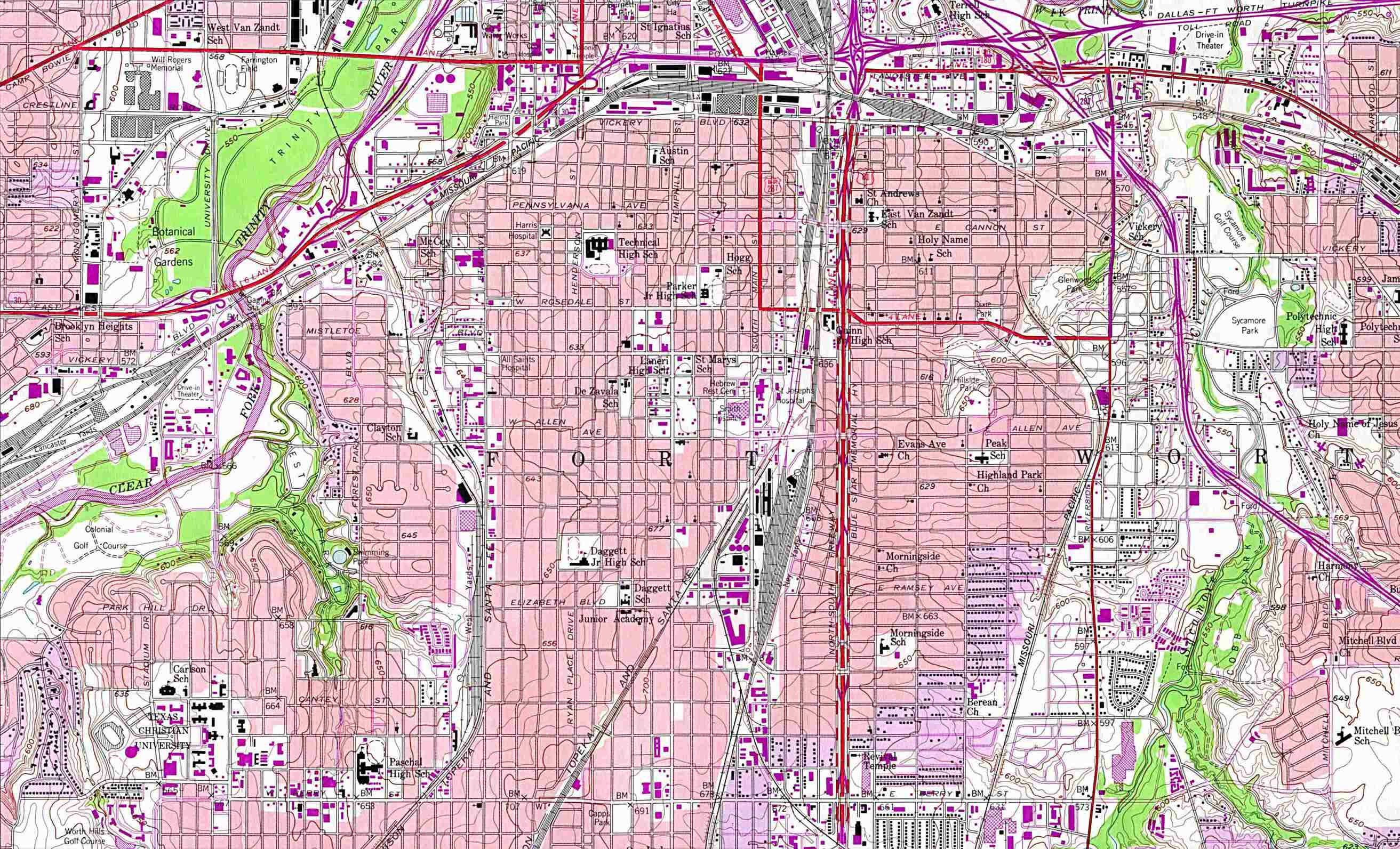 Texas City Maps - Perry-Castañeda Map Collection - Ut Library Online - Map Of Downtown Fort Worth Texas