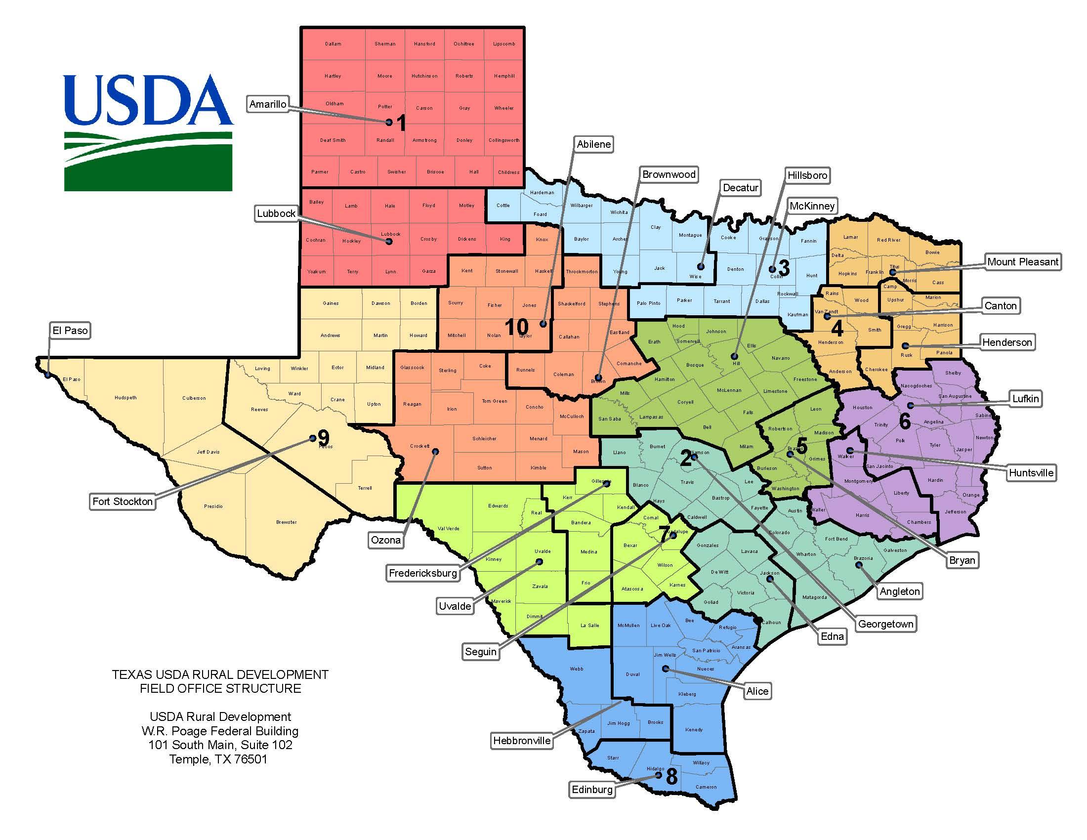Texas Contacts | Usda Rural Development - Usda Loan Map Texas
