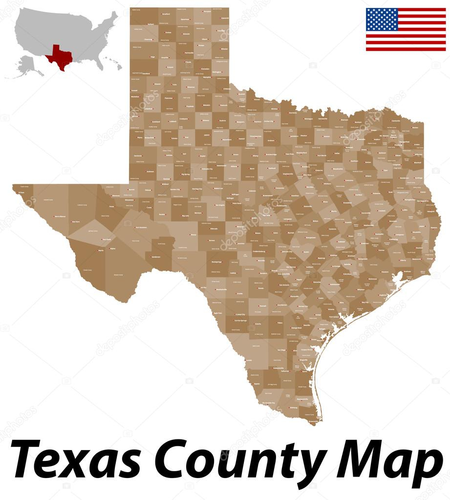 Texas County Map — Stock Vector © Malachy666 #71084427 - Texas County Map Vector