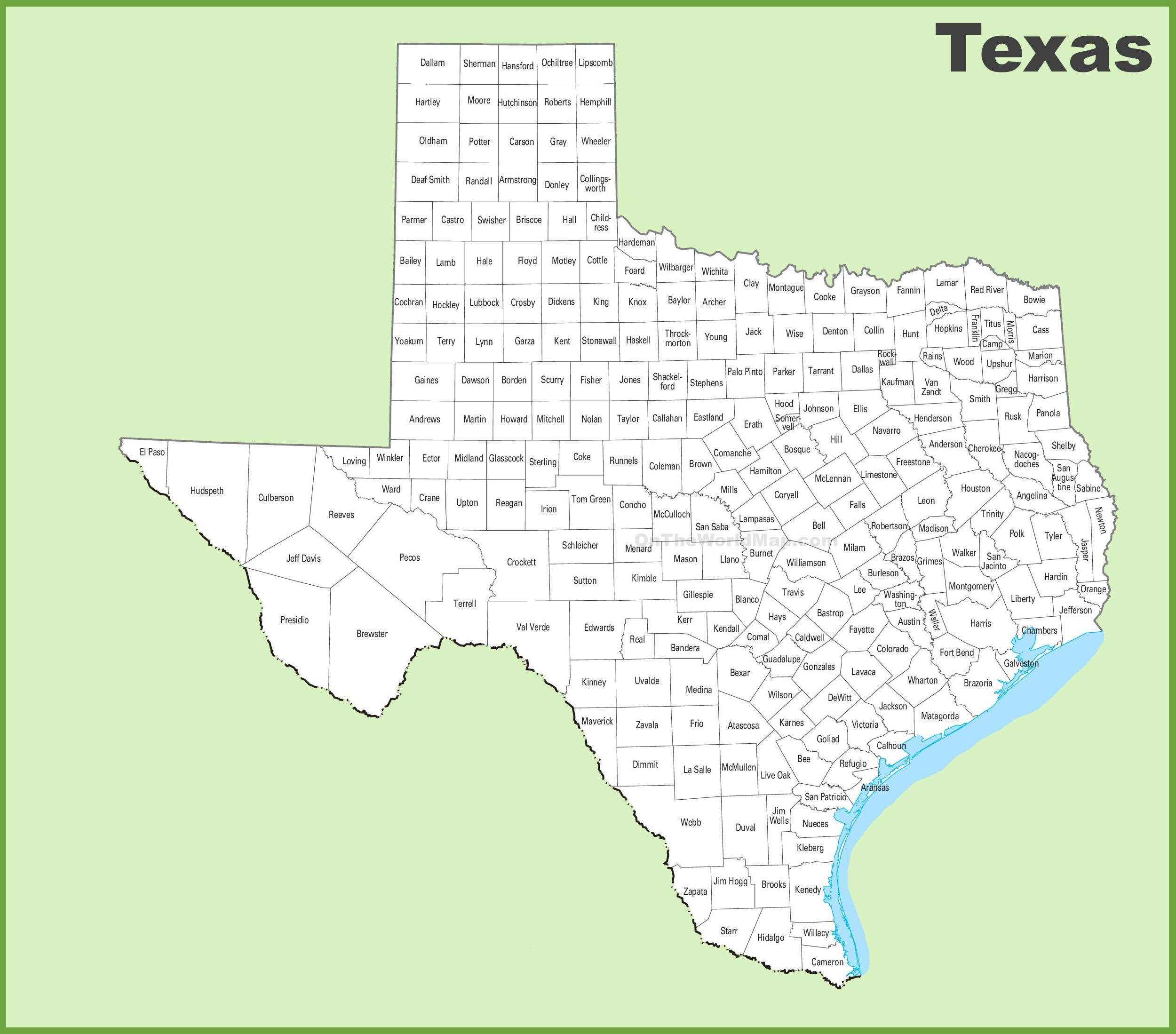 Texas County Map - Texas State Map With Counties