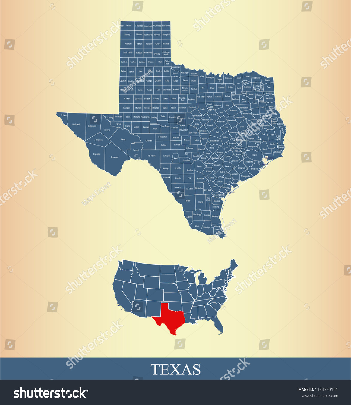 Texas County Map Vector Outline Gray Stock Vector (Royalty Free - Texas County Map Vector