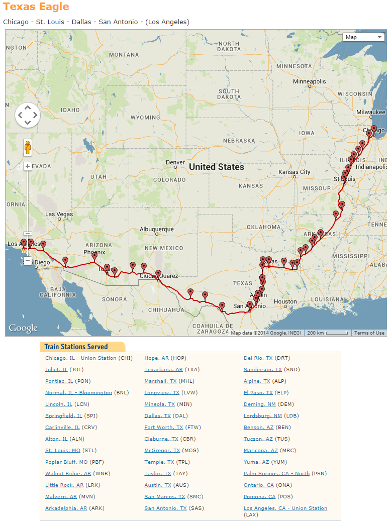 Texas Eagle Amtrak Map   Travel With Grant - Amtrak Texas Eagle Route Map
