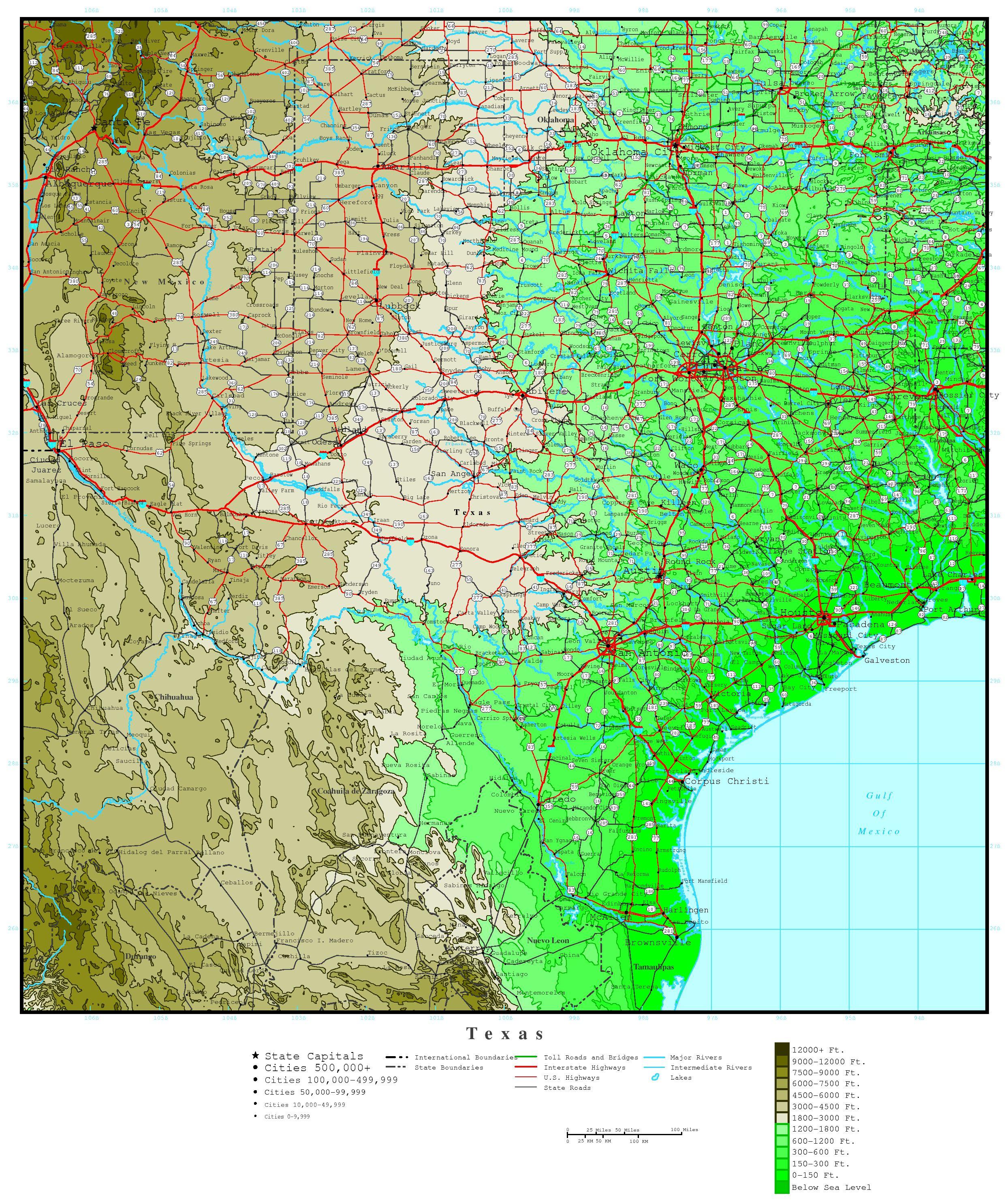 Texas Elevation Map - Austin Texas Elevation Map