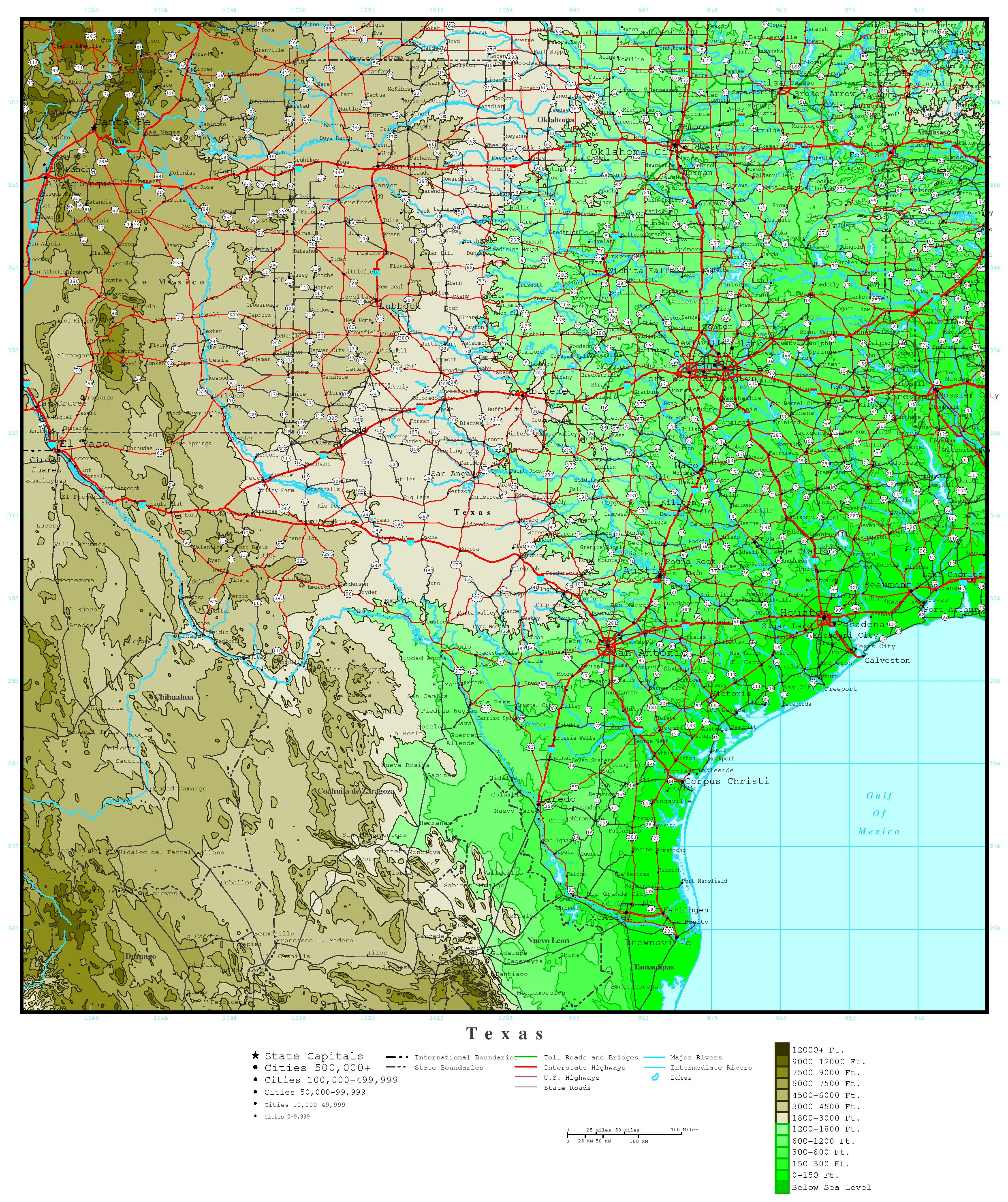 Texas Elevation Map - Interactive Elevation Map Of Florida