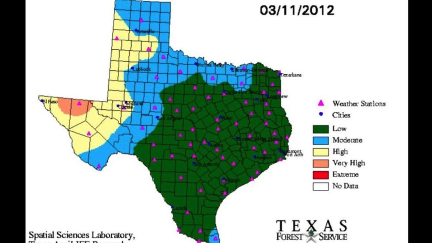 Texas Forest Service Releases New Current Fire Danger Map - Texas Forestry Fire Map