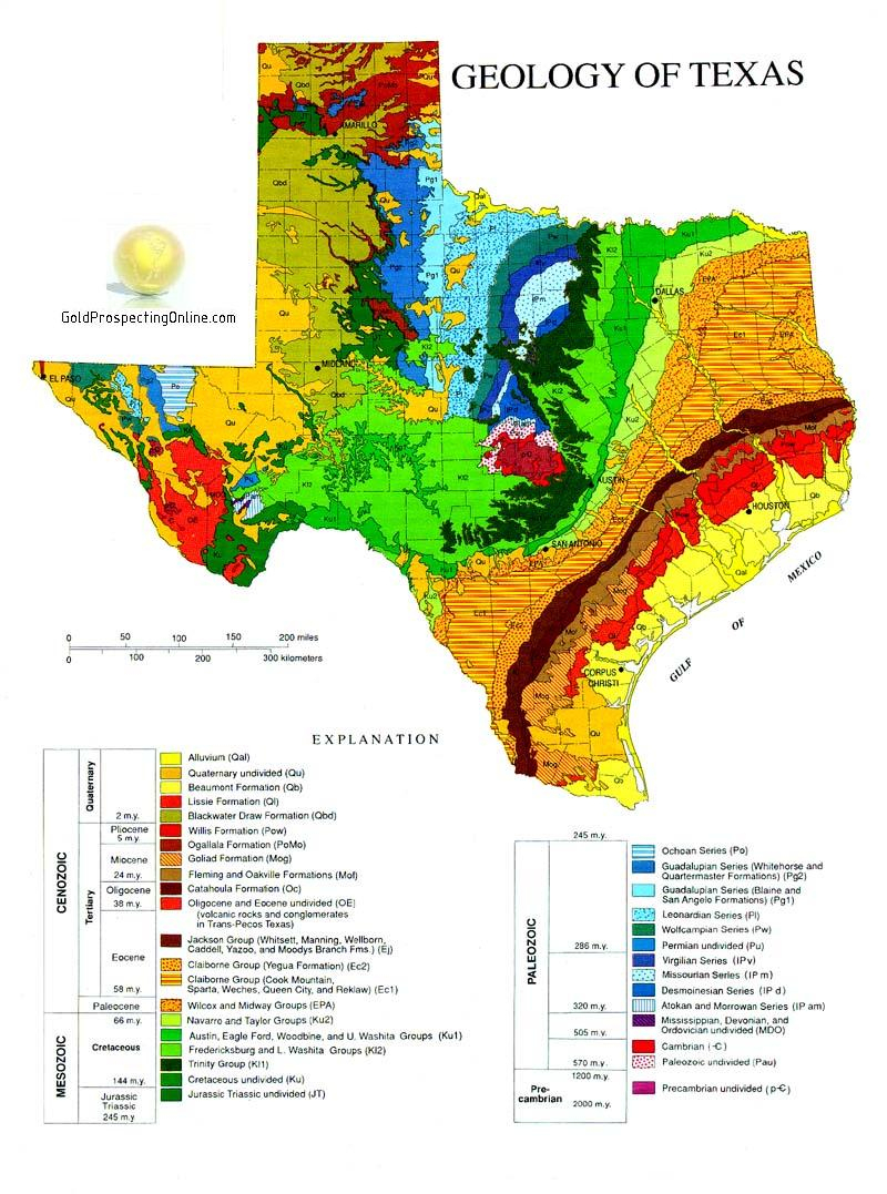 Texas | Gold Prospecting Equipment,tips & Gold Maps - Gold Prospecting In Texas Map
