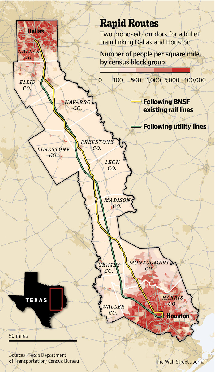 Texas Group Races For High-Speed Rail - Wsj - High Speed Rail Texas Route Map