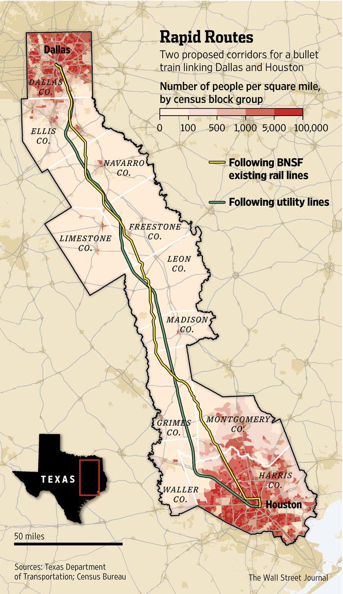 Texas Group Races For High-Speed Rail - Wsj - High Speed Rail Texas Route Map
