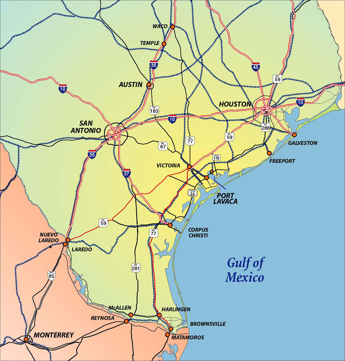 Texas Gulf Coast Maps And Travel Information | Download Free Texas - Map Of Texas Coastline
