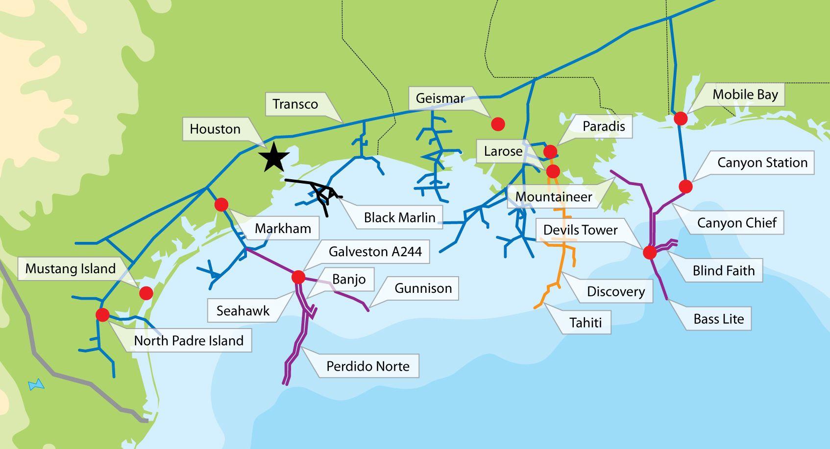 Texas Gulf Oil Rig Map | Gulf Of Mexico Oil Fields Map | $$-Texas - Map Of Texas Coastline