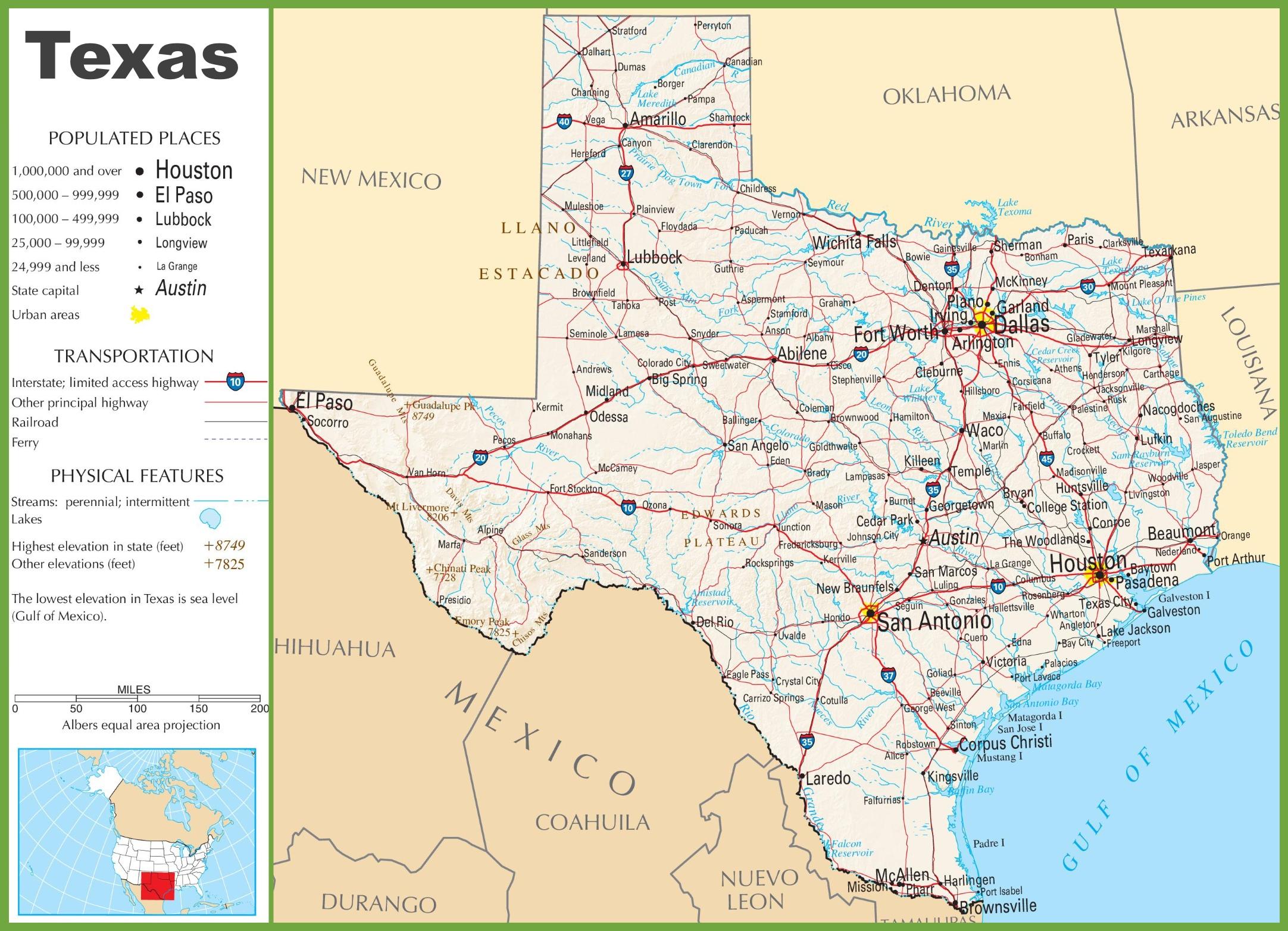 Texas Highway Map - Texas Map Of Texas