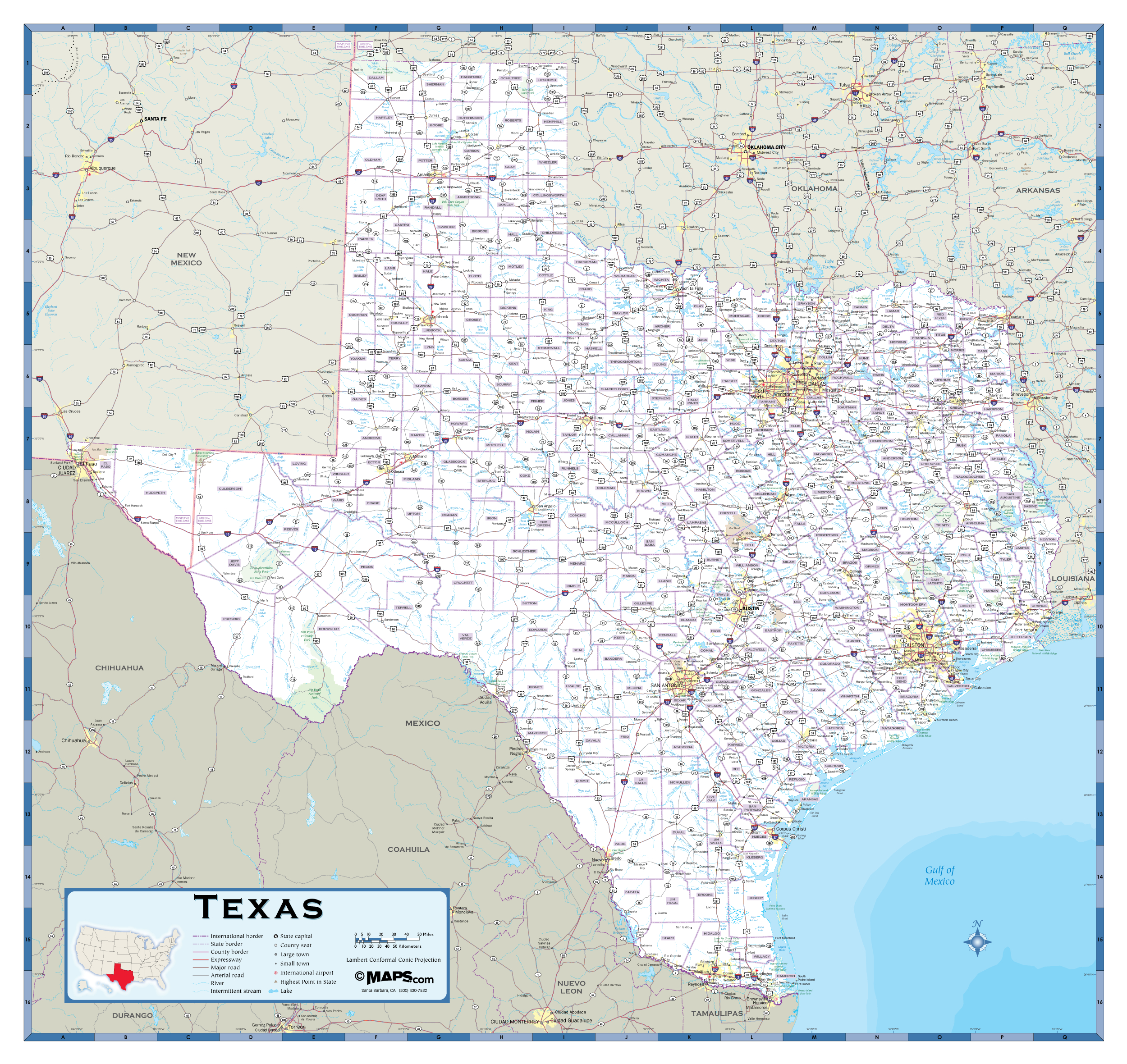 Texas Highway Wall Map - Maps - Texas Wma Map