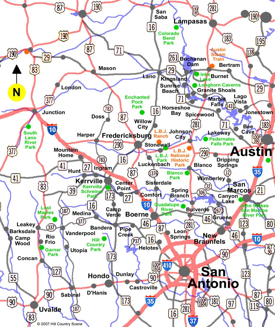 Texas Hill Country Map |  Map Showing Towns And Placesin - Texas Hill Country Map