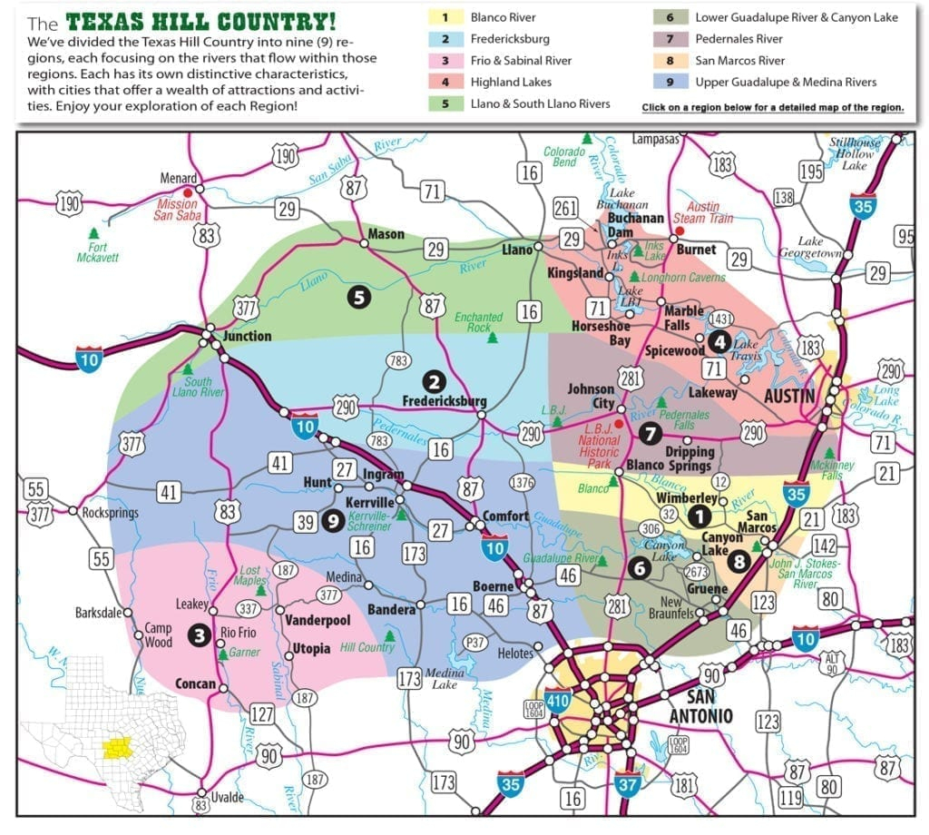 Texas Hill Country Map With Cities & Regions · Hill-Country-Visitor - Selma Texas Map