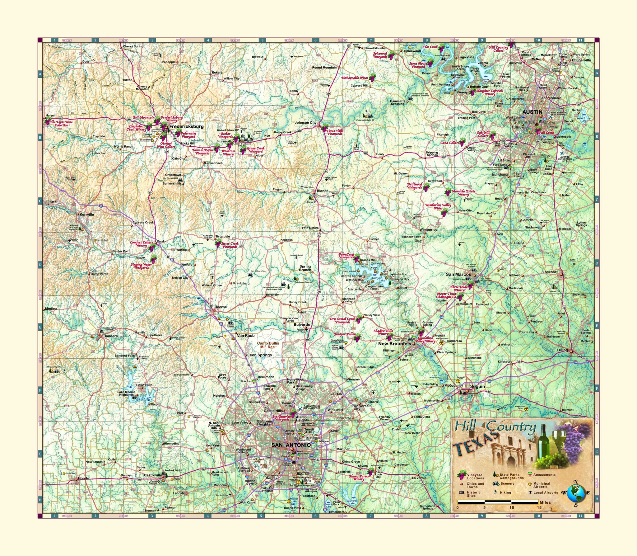 Texas Hill Country & Wine Wall Map - The Map Shop - Texas Wine Country Map