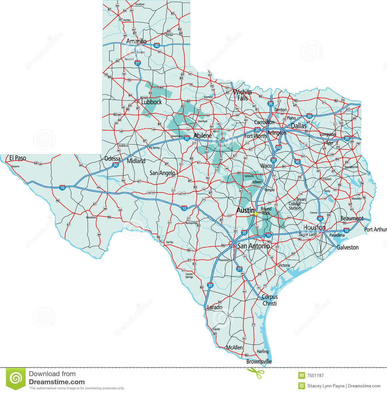 Texas Interstate Map Stock Vector. Illustration Of Dallas - 7551187 - Free Texas Highway Map