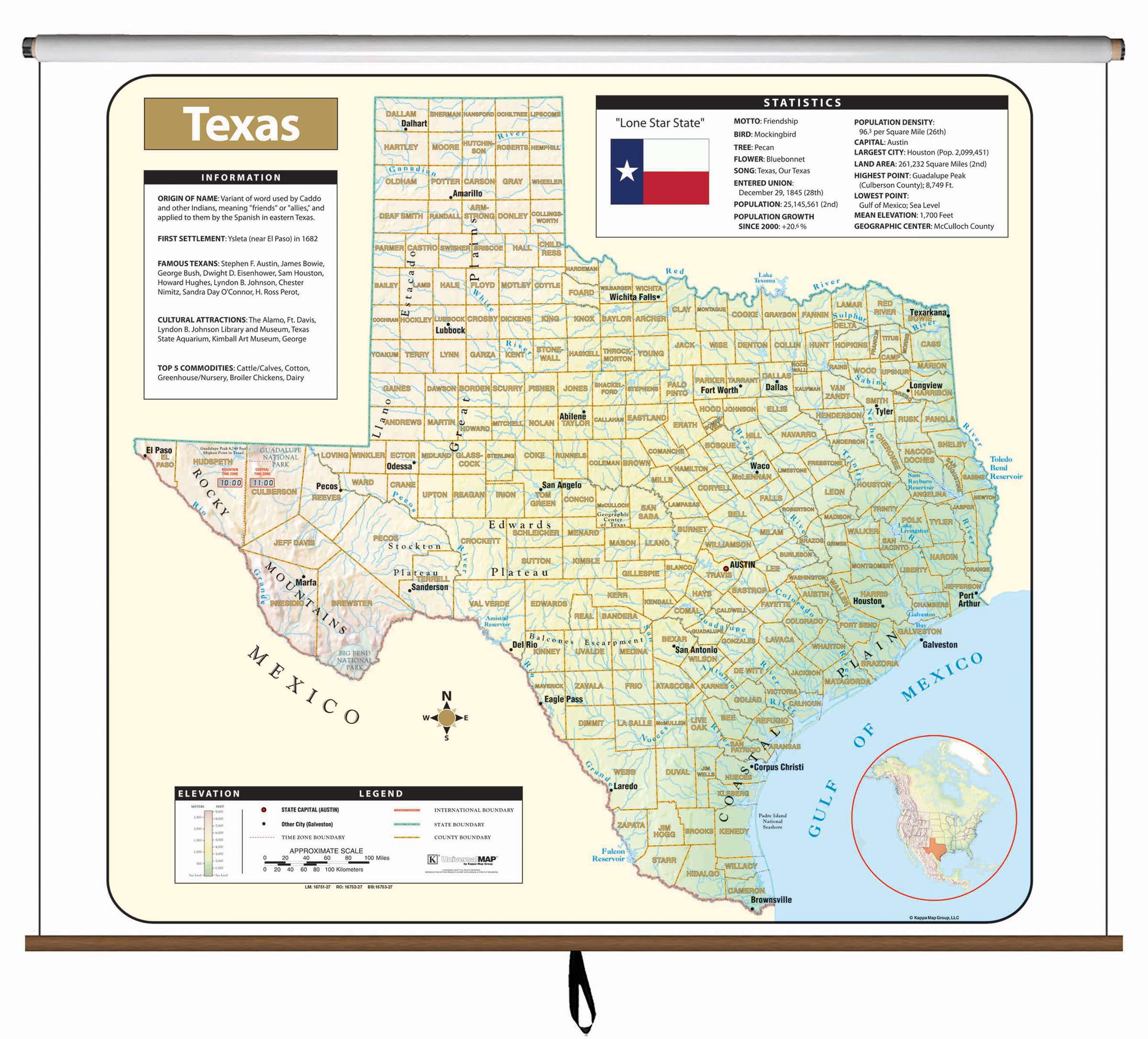 Texas Large Scale Shaded Relief Wall Map On Roller – Kappa Map Group - Large Texas Wall Map