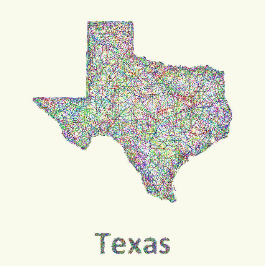 Texas Line Art Map Digital Artdavid Zydd - Map Of Texas Art
