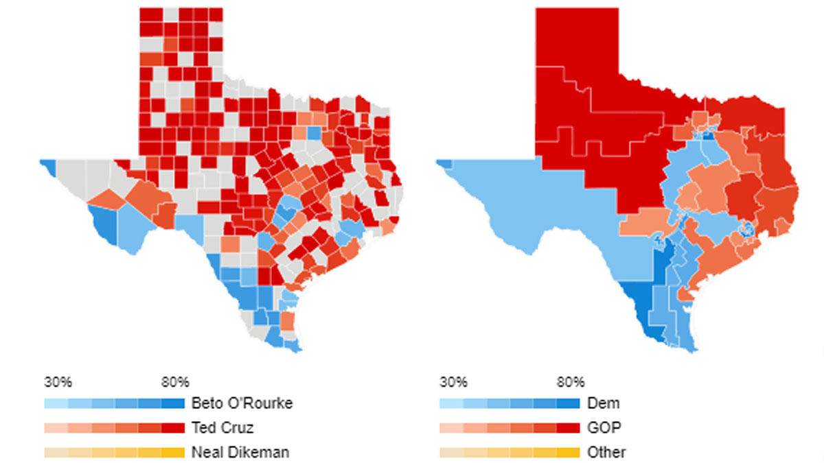 Texas Live Voting Resultscounty, Precinct - Nbc 5 Dallas-Fort Worth - Beto For Texas Map