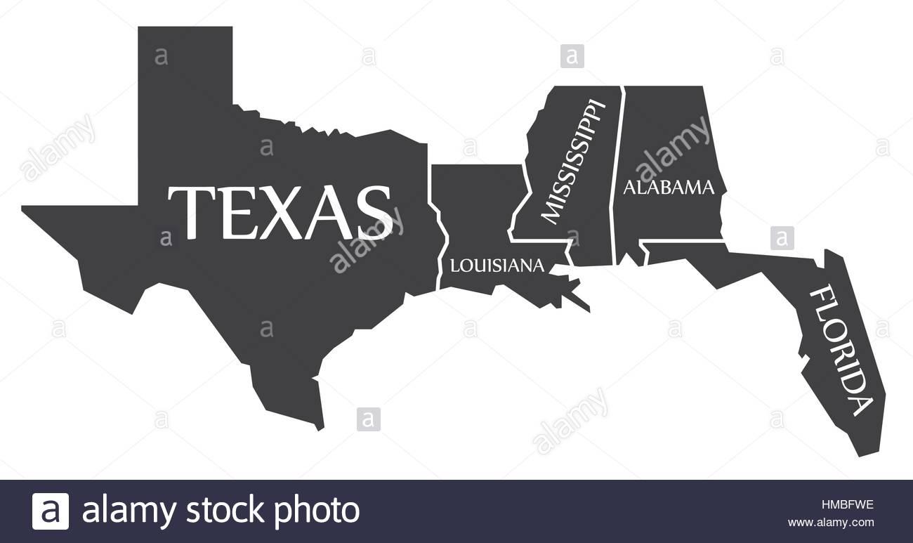 Texas - Louisiana - Mississippi - Alabama - Florida Map Labelled - Mississippi Florida Map