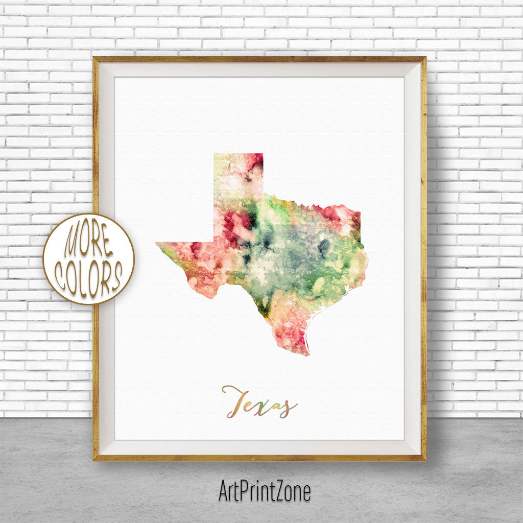 Texas Map Art Print Texas Art Print Texas Decor Texas Print Map - Texas Map Artwork