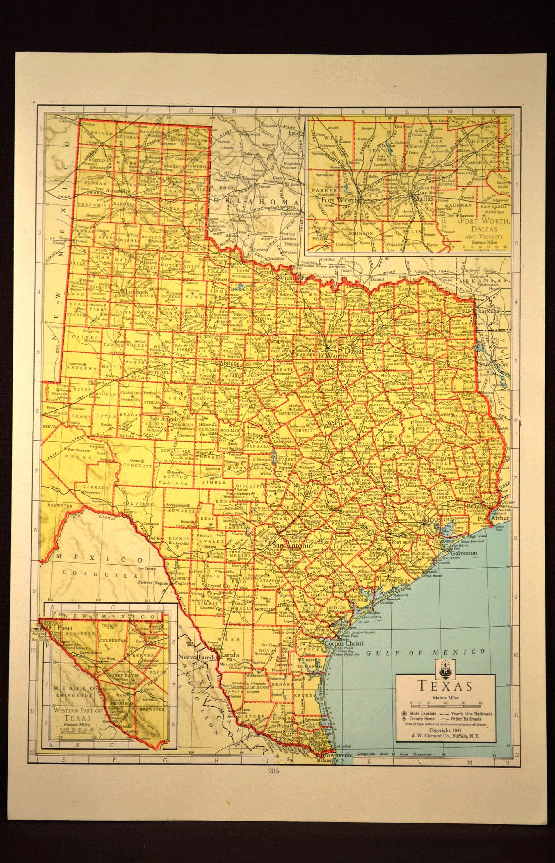 Texas Map Of Texas Wall Art Colored Colorful Yellow Vintage Gift - Map Of Texas Art