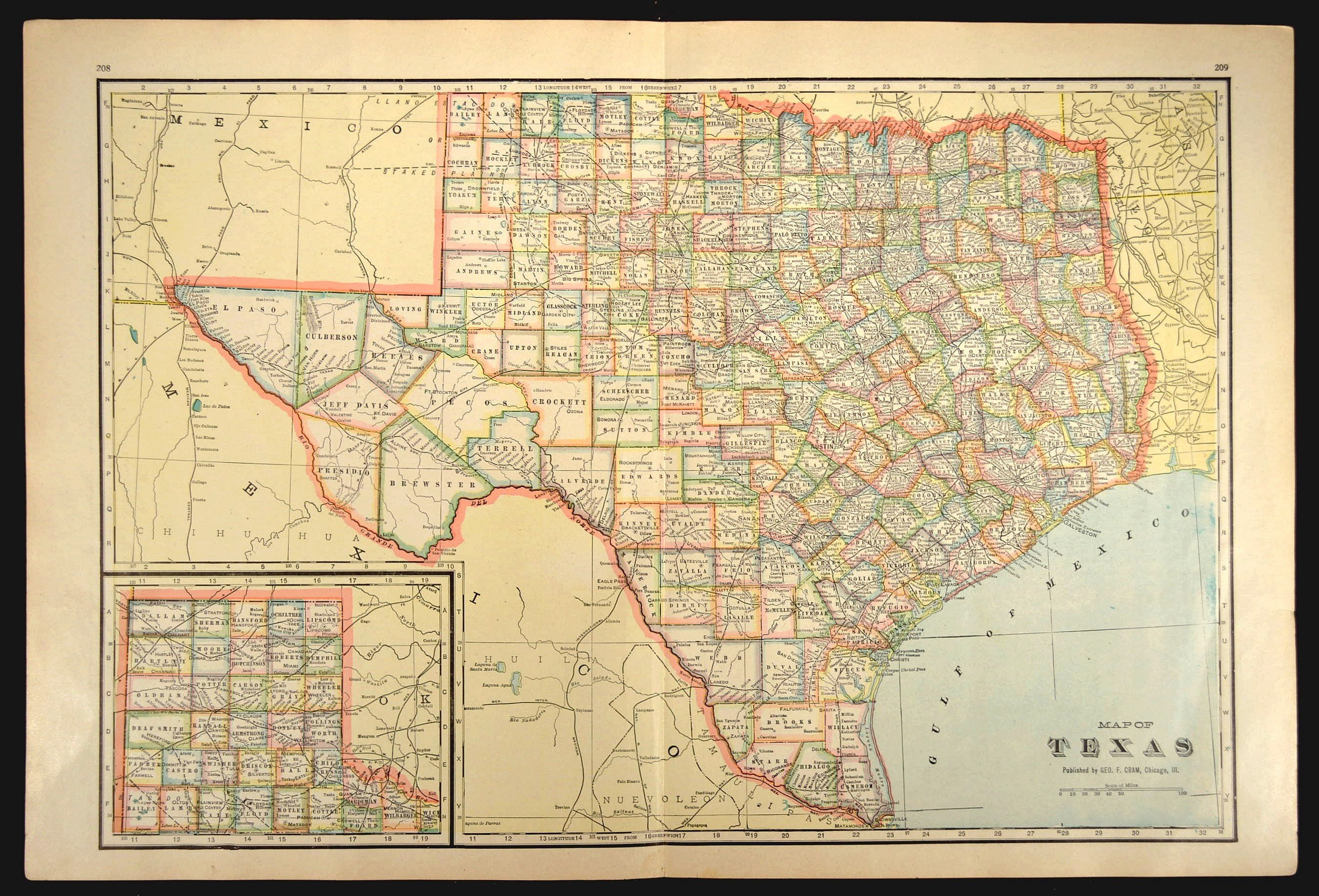 Texas Map Of Texas Wall Art Decor Large Antique Colorful | Etsy - Large Texas Wall Map