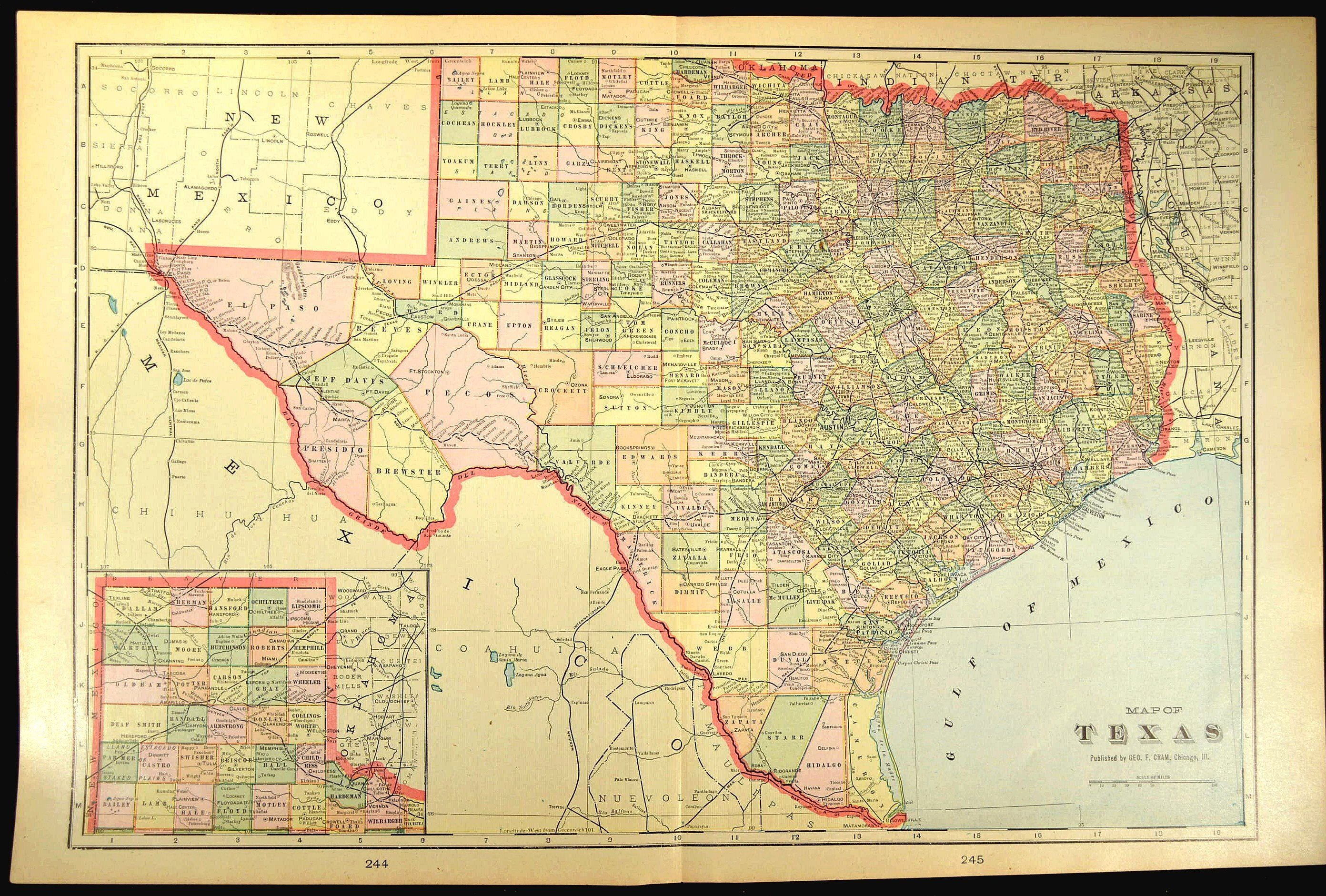 Texas Map Of Texas Wall Art Decor Large Antique Early 1900S | Etsy - Large Texas Wall Map
