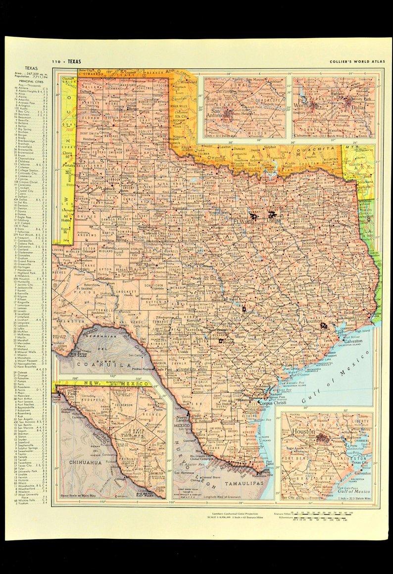 Texas Map Of Texas Wall Art Decor Pink Original Vintage 1950S | Etsy - Texas Map Wall Decor