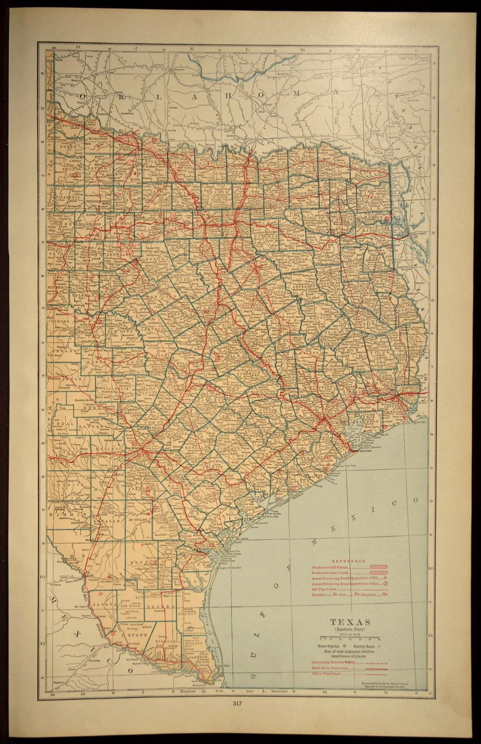 Texas Map Of Texas Wall Decor Art Road Map Large East Eastern - Texas Map Wall Decor