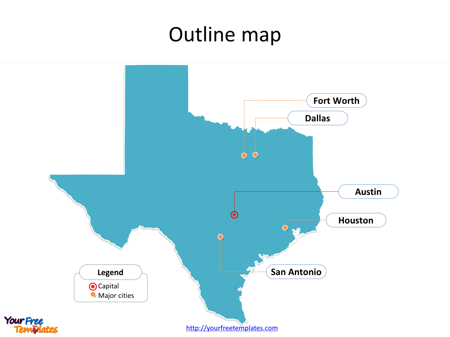 Texas Map Powerpoint Templates - Free Powerpoint Templates - Where Is Fort Worth Texas On A Map