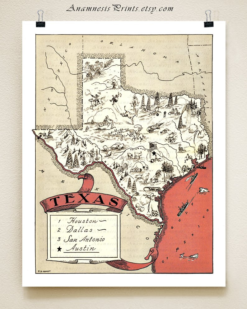 Texas Map Print Fun Vintage Picture Map Print To Frame | Etsy - Vintage Texas Map Prints