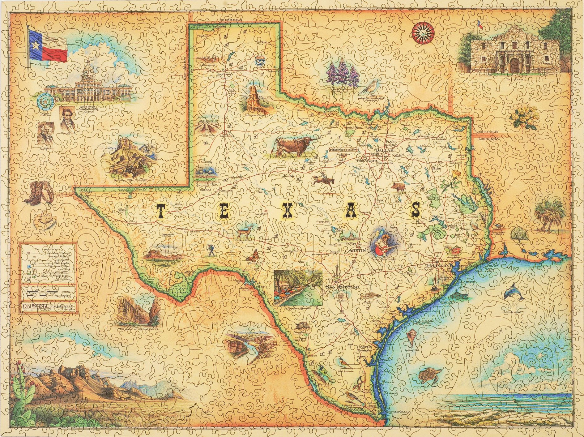 Texas Map - Wooden Jigsaw Puzzle - Liberty Puzzles - Made In The Usa - Texas Map Puzzle