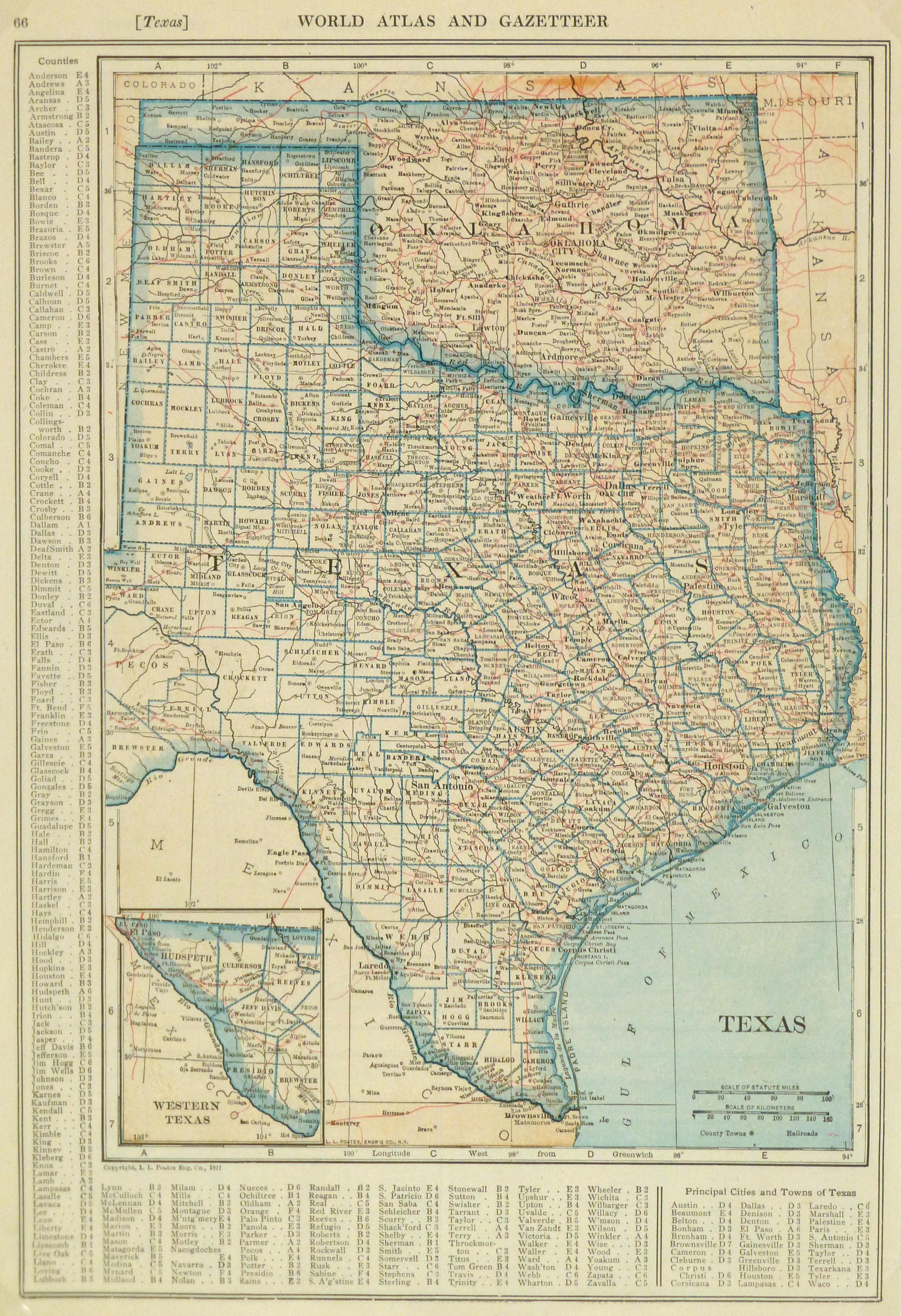 Texas & Oklahoma Map, 1921 - Original Art, Antique Maps & Prints - Vintage Texas Map Prints
