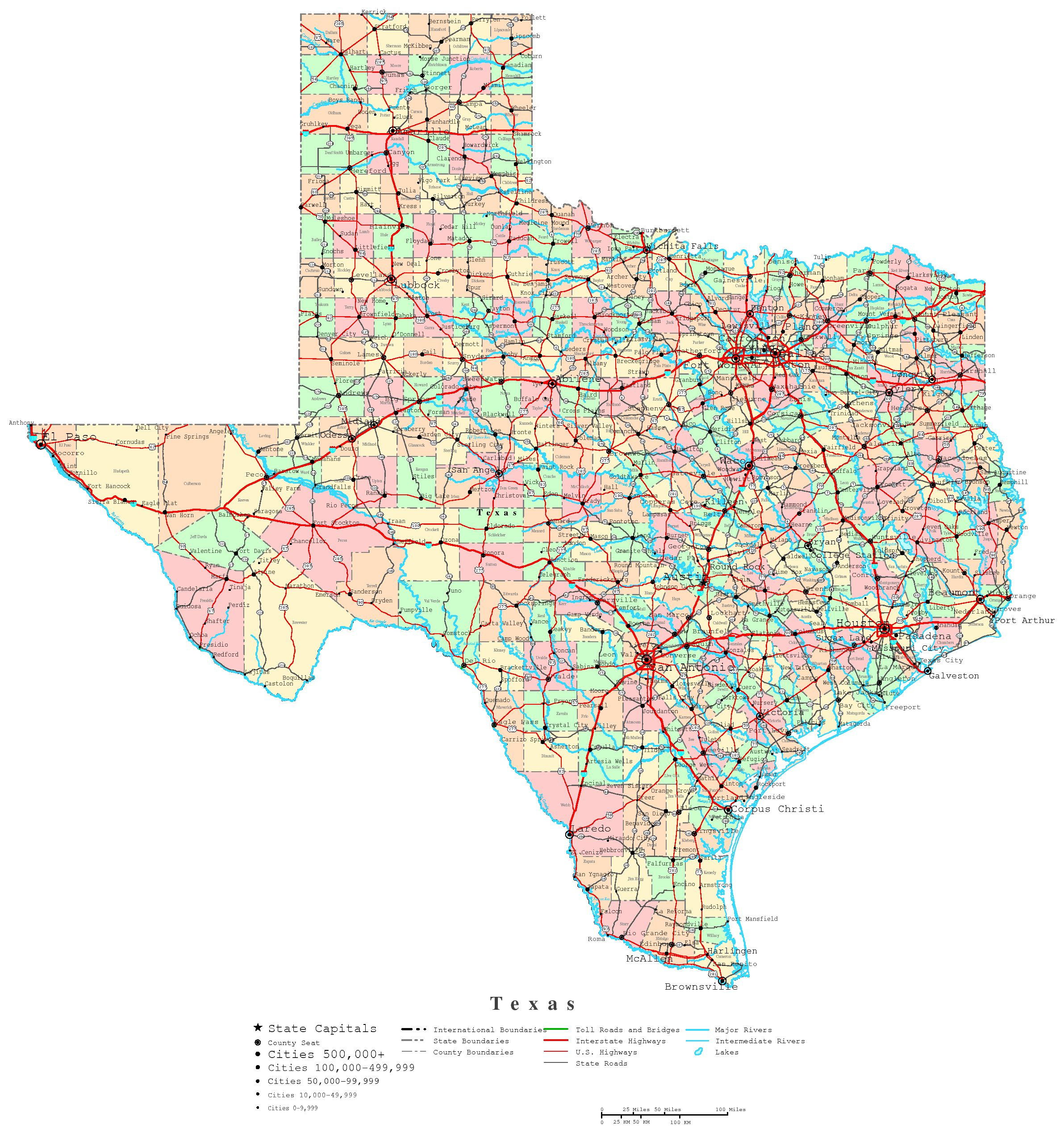 Texas Printable Map - Texas County Map With Roads