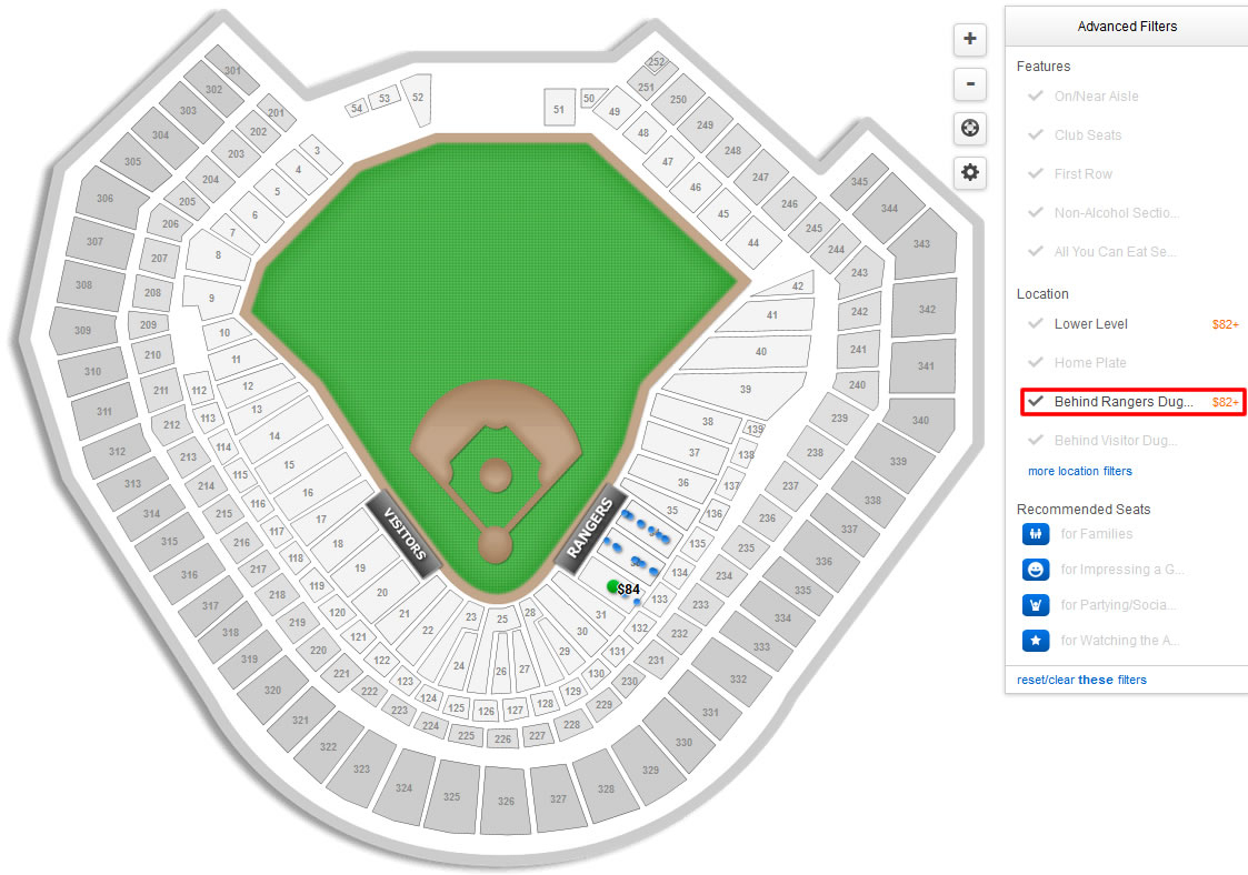 Texas Rangers Globe Life Park Seating Chart & Interactive Map - Texas Rangers Ballpark Seating Map